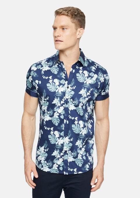 Midnight Cayman Stretch Floral Shirt