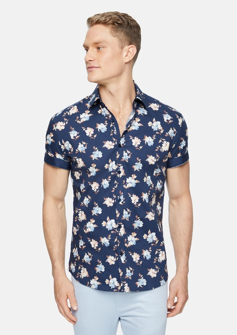 Navy Chelsey Stretch Floral Shirt