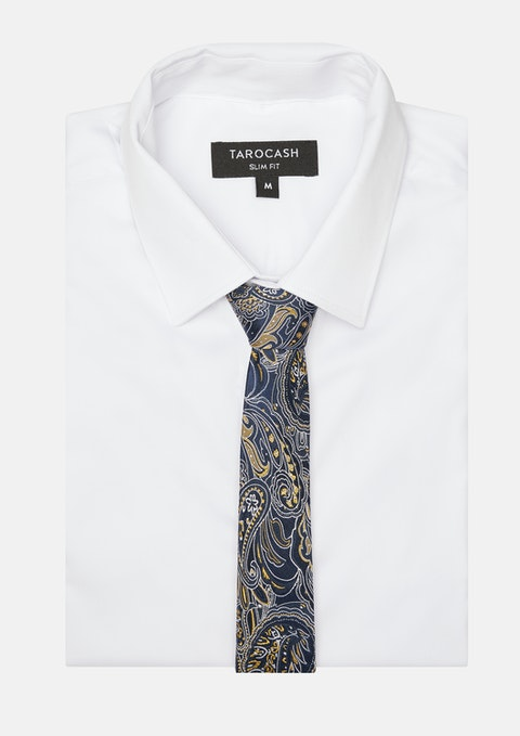 Navy Byrne Silk Paisley Tie