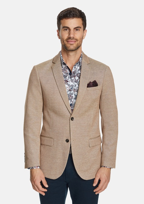 Tobacco Cortona Textured Stretch Blazer