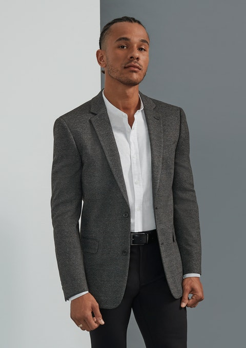 Charcoal Veneto Textured Stretch Blazer