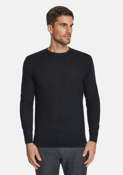 Black Merino Wool Crew Neck Knit