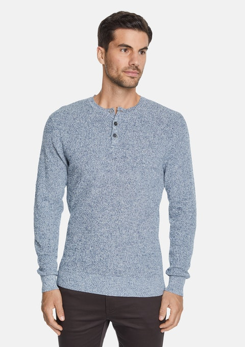 Blue Northcote Henley Knit