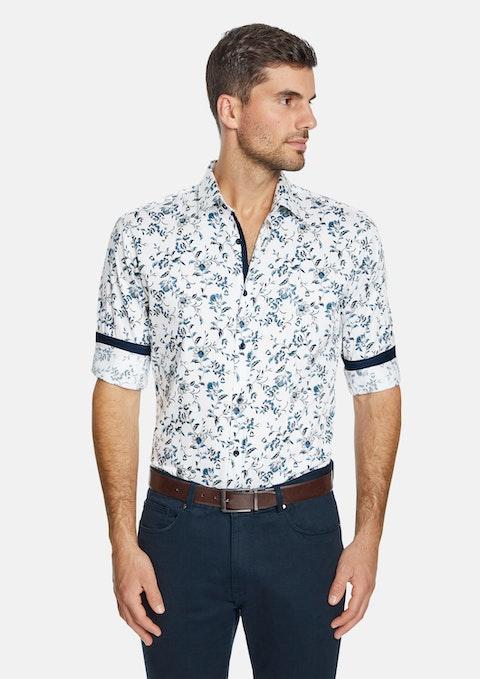 White Cavendish Slim Floral Shirt