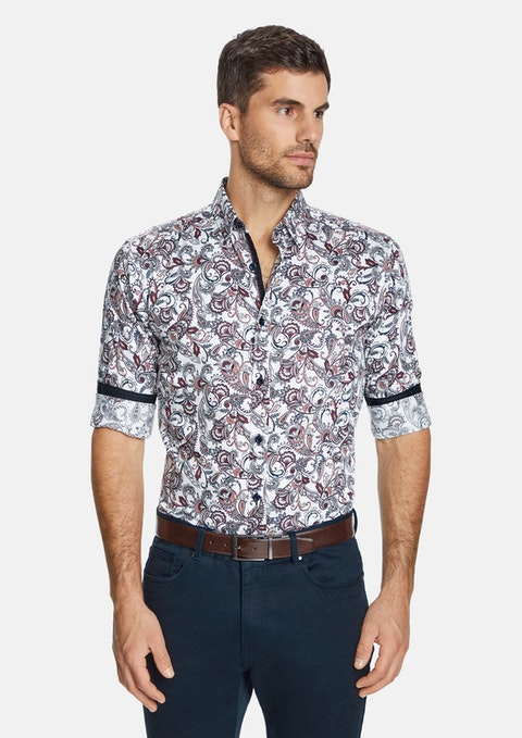 White Baldwin Slim Paisley Shirt