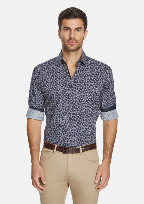 Navy Ralston Slim Paisley Shirt