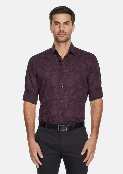 Burgundy Sussex Floral Shirt
