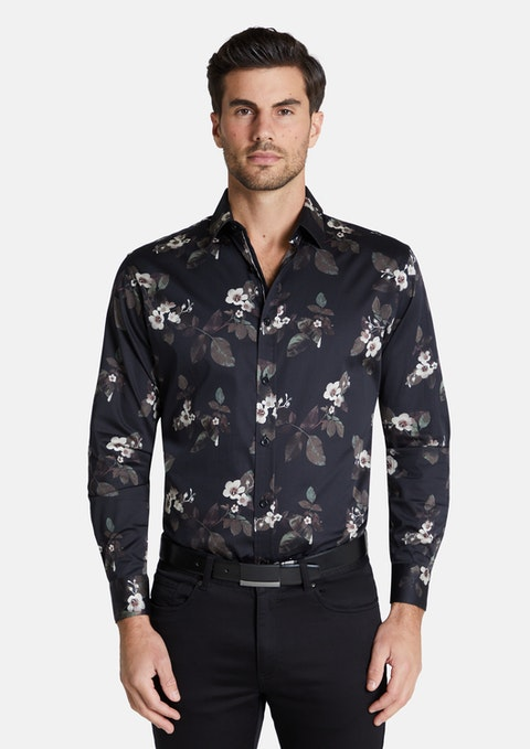 Black Beaufort Slim Stretch Floral Shirt