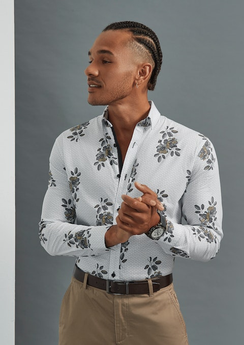 White Paxton Slim Stretch Floral Shirt
