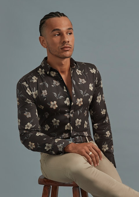 Chocolate Donelly Slim Floral Shirt