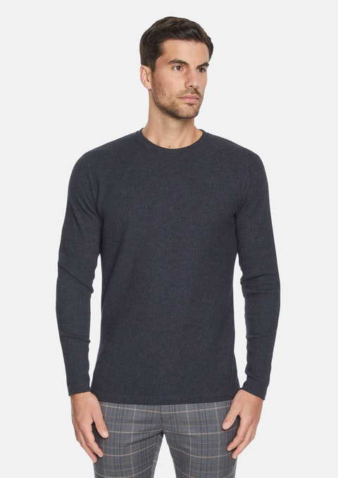 Charcoal Boswell Textured Crew Tee
