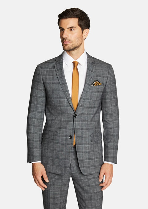 Charcoal Cam Slim Stretch Check Suit Jacket