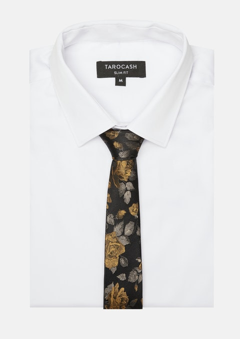 Bronze Chatsworth Floral Silk Tie