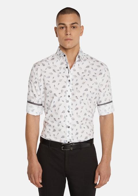 White Malden Slim Stretch Leaf Shirt